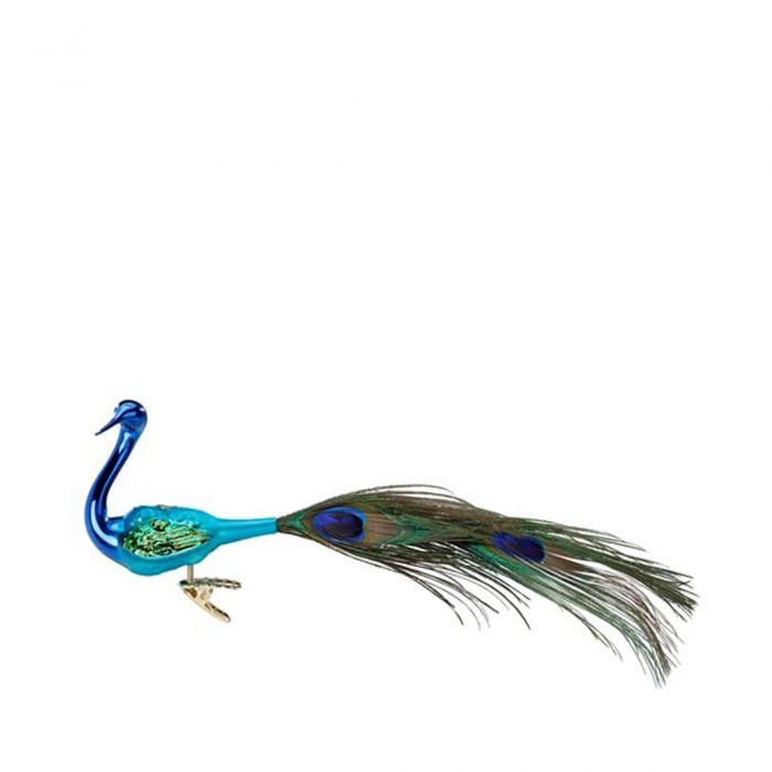 Inge Glas Елочная игрушка на клипсе Павлин голубой