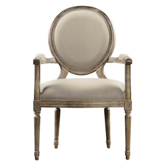 Vintage Louis Round Arm Chair In Beige