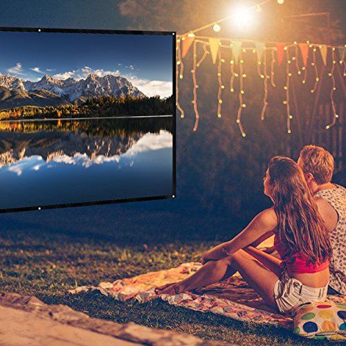 100 inch Portable Movie Screen, FLOVEA 16:9 Home theater projector screen , Outdoor Indoor Movie Screen, High Contrast, DIY Projection Screen with No Stretching Required 5