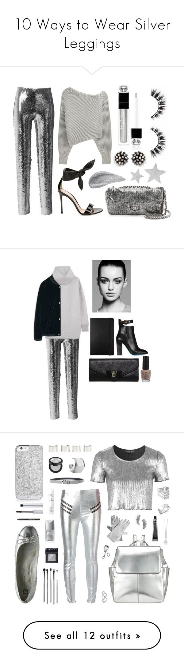 """10 Ways to Wear Silver Leggings"" by polyvore-editorial ❤ liked on Polyvore featuring silverleggings, waystowear, Isabel Marant, Alexander Wang, Gianvito Rossi, Christian Dior, Miriam Haskell, Yves Saint Laurent, Marc Jacobs and Loriblu"