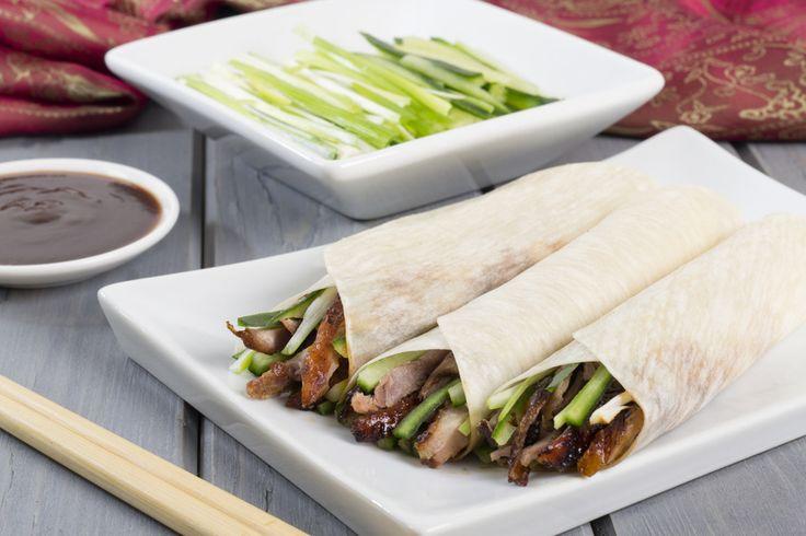 Pekingente mit Mandarin-Pfannkuchen gerollt (Pekingente in Wrap-Form)