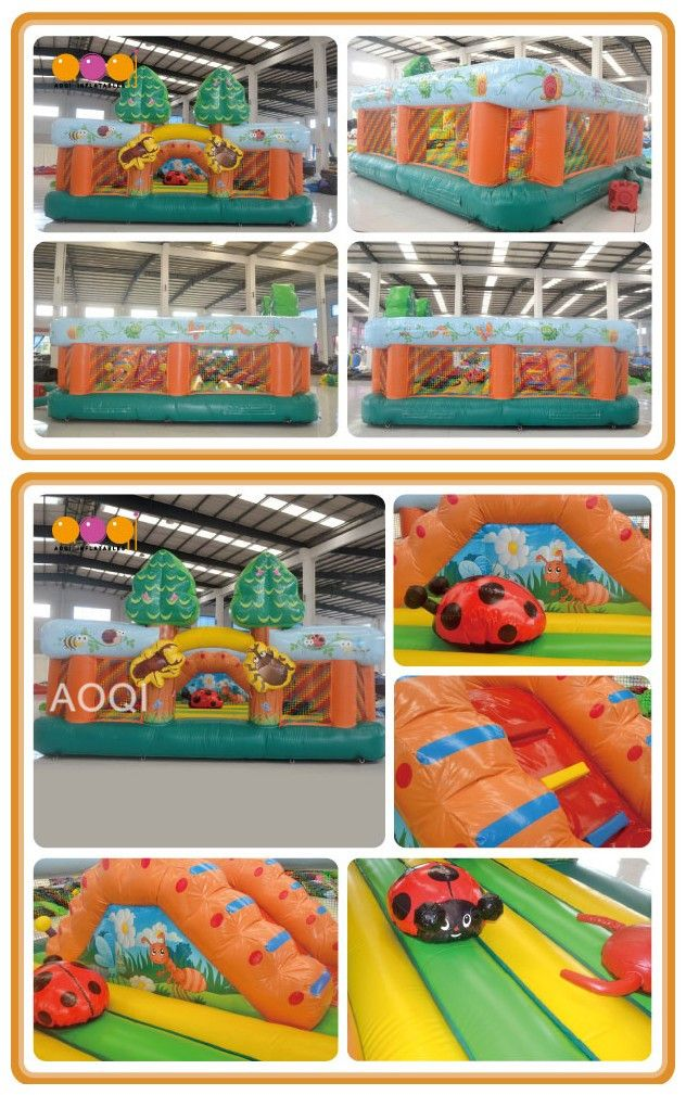 AQ02357-1(6*6*3m/19.69'*19.69'*9.84') Insects bouncer. Nobody knows how interesting it is, only people who are playing can experience the fun.A creative and beautiful Inflatable bouncer in bright color will attract people's attention especially kids'. When playing in this inflatable, children can enjoy jumping happily,