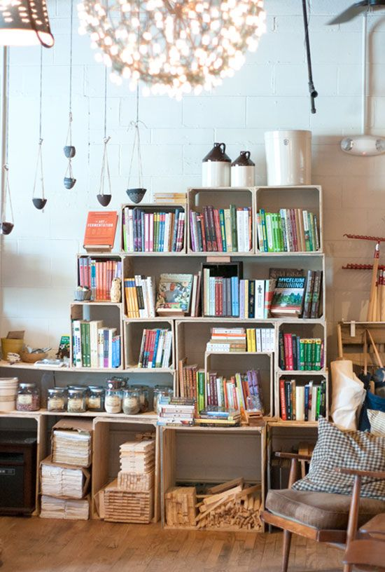 DIY stacked crate shelving—For Villagers Asheville North