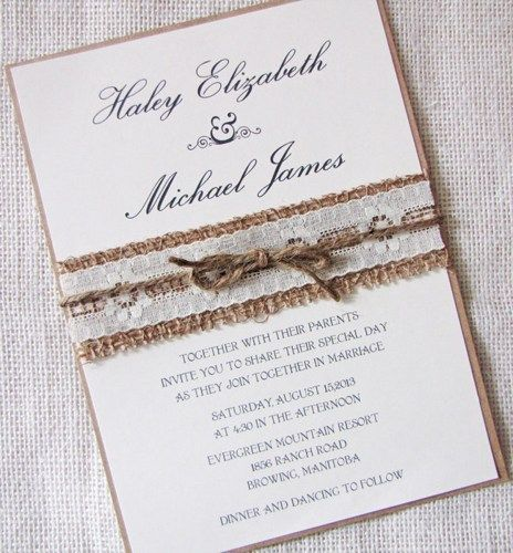 Homemade Rustic Wedding Invitations | Rustic Country Lace And Burlap  Wedding Invitation Sample Listing