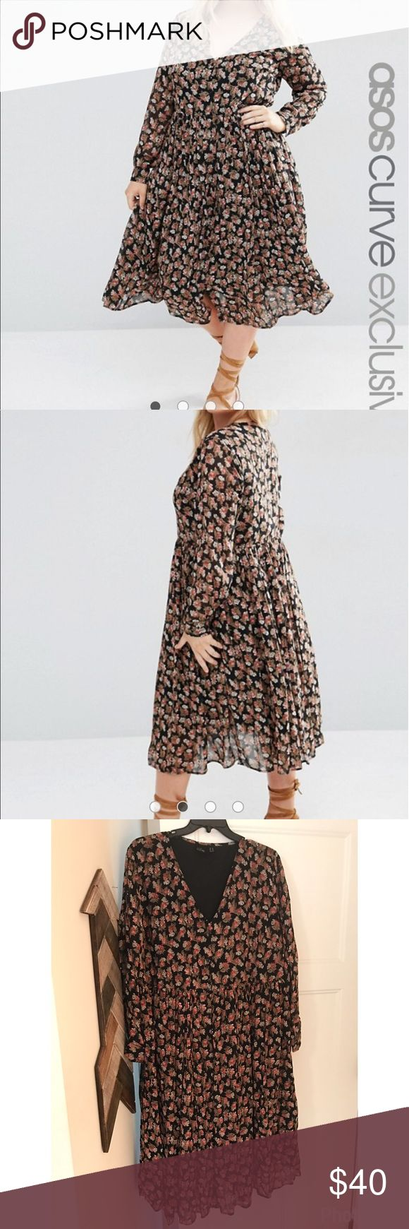 Asos Curve button through dress with long sleeves Cute, perfect condition, never worn! ASOS Curve Dresses Midi