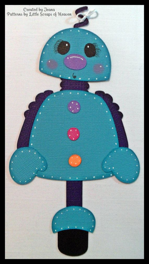 4 Piece Scrapbook Paper Pieced Girl Robot Set by MerryScraps on Etsy