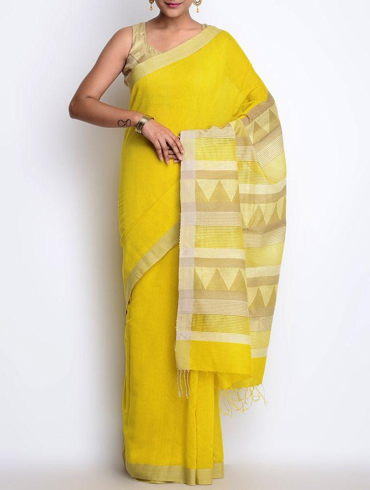 Buy Yellow Beige Cotton Silk Jamdani Saree Sarees Woven Beauty Hand & Online at Jaypore.com