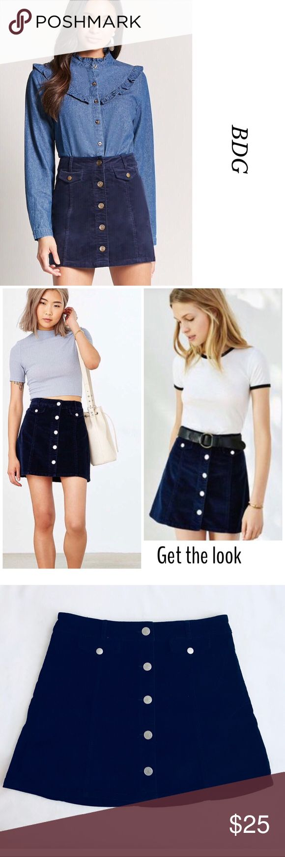 BDG UO WOMEN'S CORDUROY MINI SKIRT IN NAVY NOWT. Gorgeous BDG Urban Outfitters Women's Corduroy Mini Skirt. Perfect for every season. Featuring five front buttons for closure, two front little pockets with snap closure and hoops for belts. Color: Navy blue.  98% Cotton 2% Spandex. Line tag to prevent store returns. Bundle and save. Please, feel free to ask me any questions. Open to offers . Urban Outfitters Skirts Mini