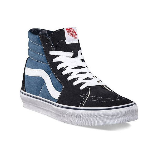 Vans Sk8-Hi Top Sneaker - Navy Skate Shoes ($60) ❤ liked on Polyvore featuring shoes, sneakers, blue, high top sneakers, navy sneakers, navy blue sneakers, blue shoes and grip trainer