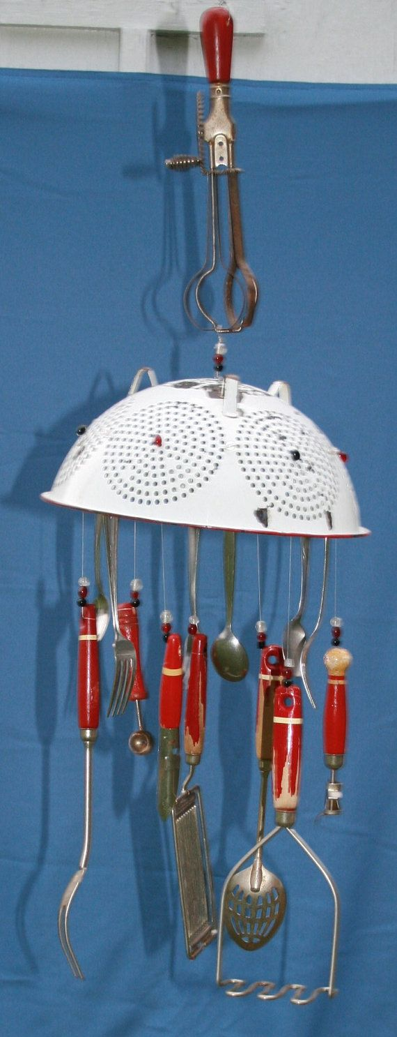 Vintage Recycled Baking Cooking Wind Chime by myrustygold on Etsy, $50.00