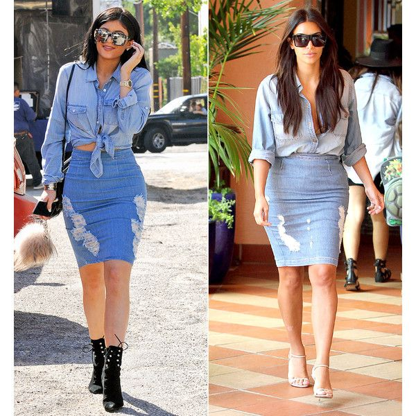 Kylie Jenner Steals Kim Kardashian's Double-Denim Style Who Wore the... ❤ liked on Polyvore featuring photo