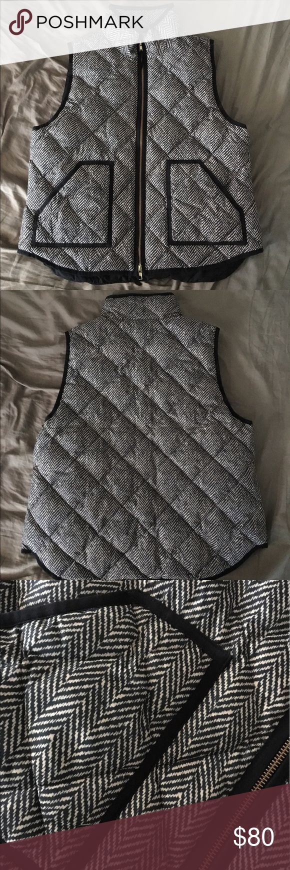 J Crew Printed Vest Black and off white printed puffer vest by J CREW in XL. Perfect vest for fall and winter time. Brand new with tags. J. Crew Jackets & Coats Vests