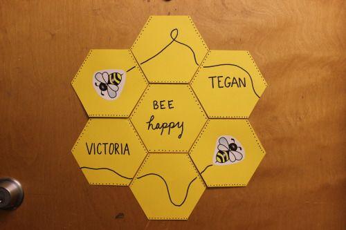 """ra-is-life: """"Honeycomb door decorations for PLU's Hinderlie Hive 2014. """""""