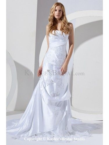 Satin and Lace Sweetheart Chapel Train Sheath Wedding Dress with Embroidered