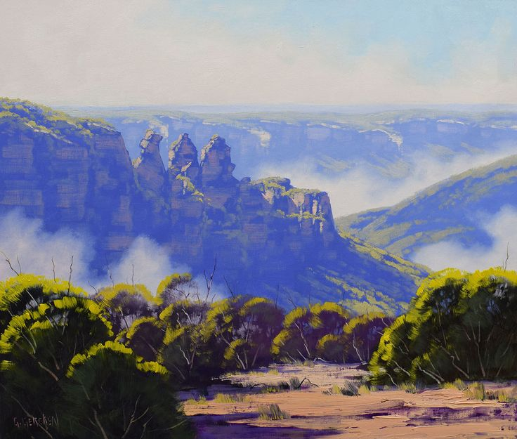 Blue Mountains PAINTING, three sisters, mountain painting, original oil painting, blue wall art by landscapesAndSea on Etsy