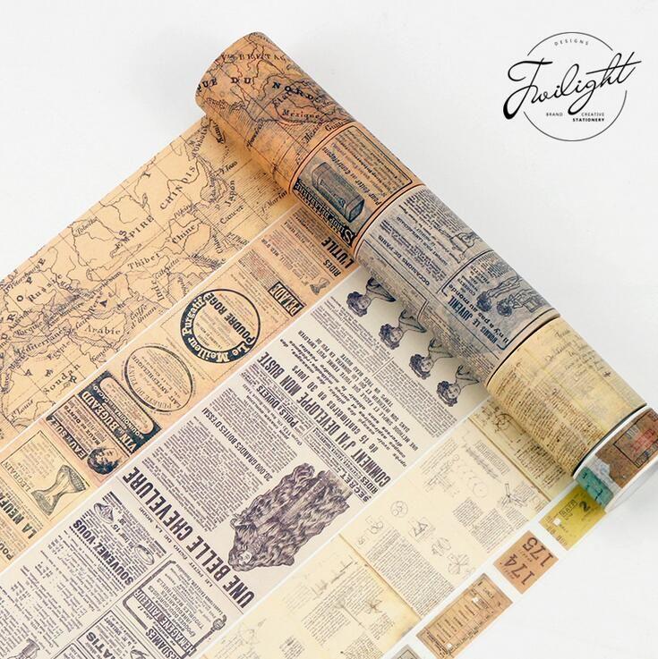 Creative Newspaper Map Gothic Decorative Washi Tape DIY Scrapbooking Masking Tape School Office Supply