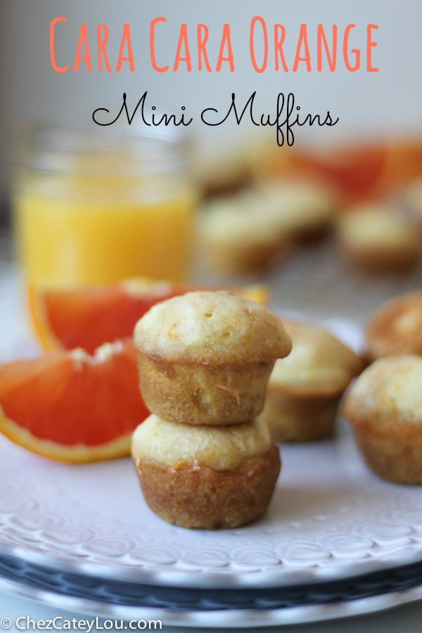 Cara cara orange zest is stirred into mini muffins, and then the juice is mixed with brown sugar and poured over the warm muffins. These are so flavorful and so good! | ChezCateyLou.com