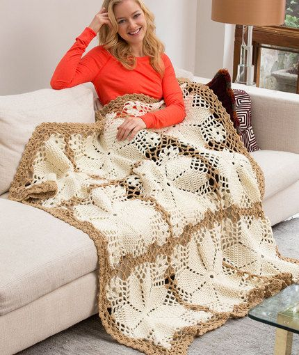Lacy Floral Throw Free Crochet Pattern in Red Heart Yarns