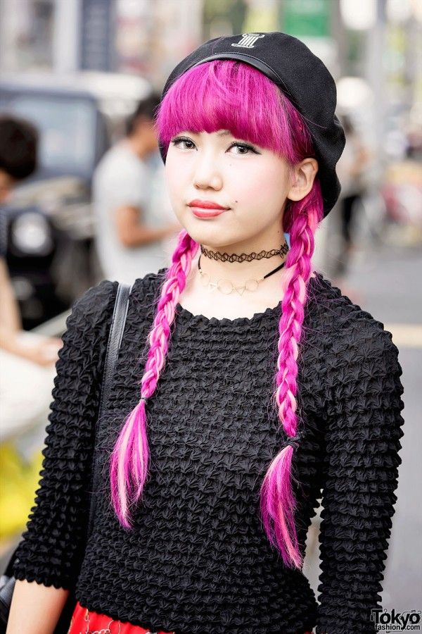 Pink Hair & Popcorn Shirt in Harajuku