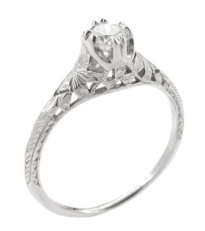 So beautiful!!! Art Deco Filigree Flowers and Wheat Engraved 1/3 Carat Diamond Engagement Ring in Platinum http://www.antiquejewelrymall.com/r356p33d.html