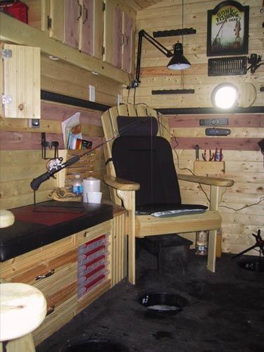 17 best ideas about ice shanty on pinterest ice fishing for Fish house interior designs