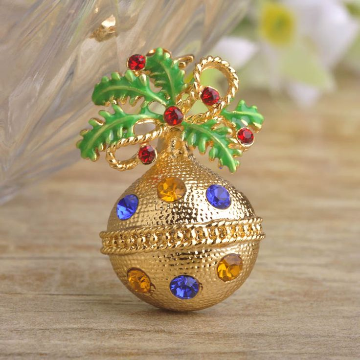 New Year's Gift Bell Shape Brooches For Kids Colorful Crystal Enamel Leaf Bow Brooch Shirt Collar Clip Christmas Ball Hijab Pins #Affiliate