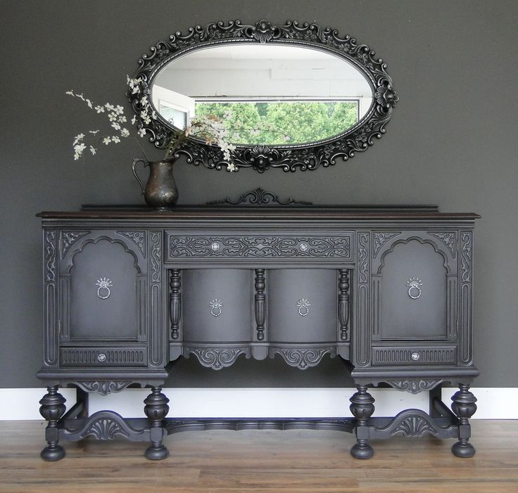Oh my! On my favorites list for sure! So ornate with something interesting at every angle, painted in the darkest gray, highlights on the detail and dark glaze! Modern Vintage