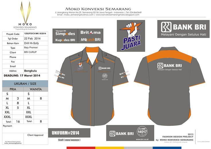 Kemeja Seragam Kerja BRI Curup, Rejang Lebong - Bengkulu - Indonesia.  Baju Kerja Warna Abu-abu - Orange.