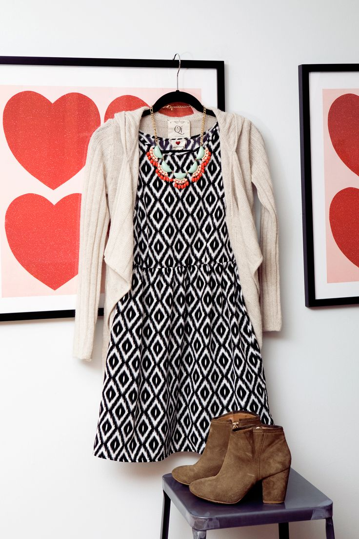 Black & White Patterned Dress + Color Statement Necklace + Neutral Cardigan + Brown Boots // Refinery29
