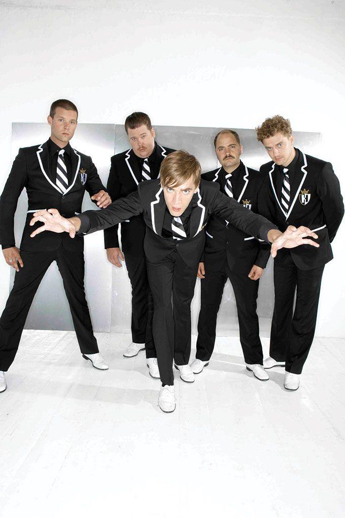 The Hives (Left to right: Chris Dangerous, Vigilante Carlstroem, Howlin' Pelle Almqvist, Dr. Matt Destruction, Nicholaus Arson)