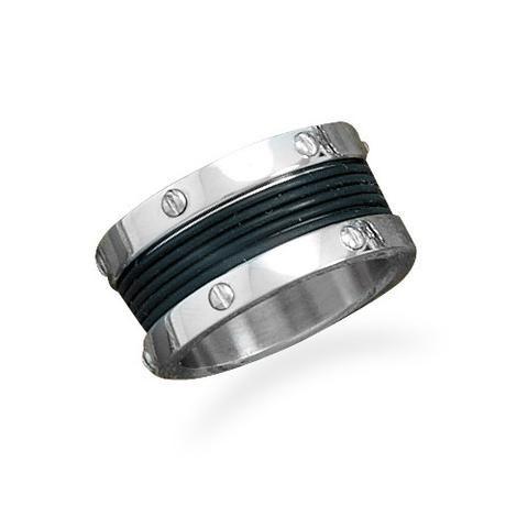 CR05051* - Men's Stainless Steel & Rubber Center Ring
