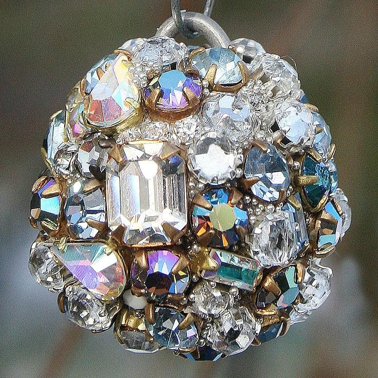 vintage rhinestones ball ornament petite clear iridescent 4500 via etsy - Iridescent Christmas Tree Decorations