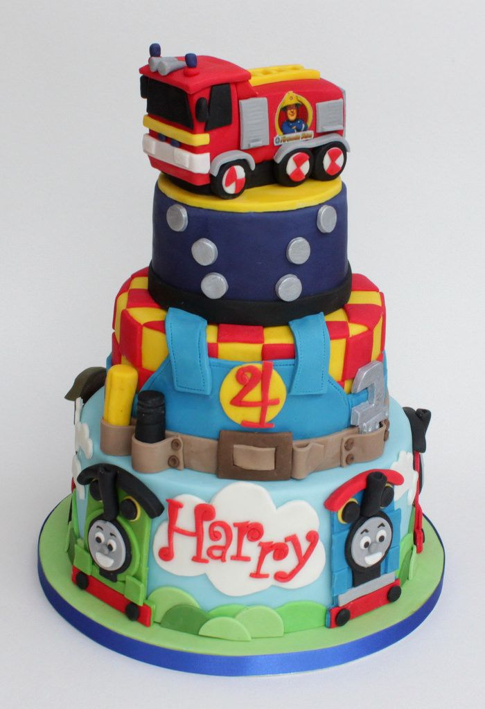 A 3 tier cake for a party at Mattel World - Thomas & Friends, Bob the Builder and Fireman Sam all on one cake!!! Everything handmade from fondant.