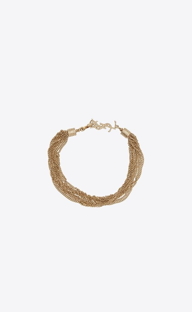 8284c464a2 SAINT LAURENT Bracelets Woman LOULOU necklace with twisted chains in ...