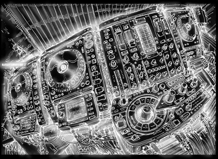 #DJ /Author Aleksey Lubimov. #alekseylubimov_art #алексейлюбимовбиомеханика #алексейлюбимов #стимпанк #дизельпанк #биомеханика #marchofrobots #steampunk #dieselpunk #biomechanical #lineart #engine #motor #inktober2018 #technodoodling