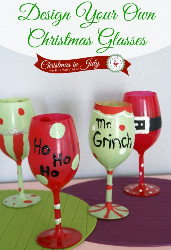 Design Your Own Christmas Glasses…buy glasses at the Dollar Store and design whatever kind of glasses….cheap, fun gifts or beautiful glasses for the home!