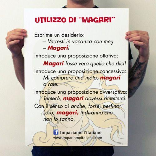 """Come si utilizza la parola """"magari""""?Metti alla pratica il tuo italiano su www.impariamoitaliano.comE se vuoi saperne di più, guarda questo video di Sgrammaticando:"""
