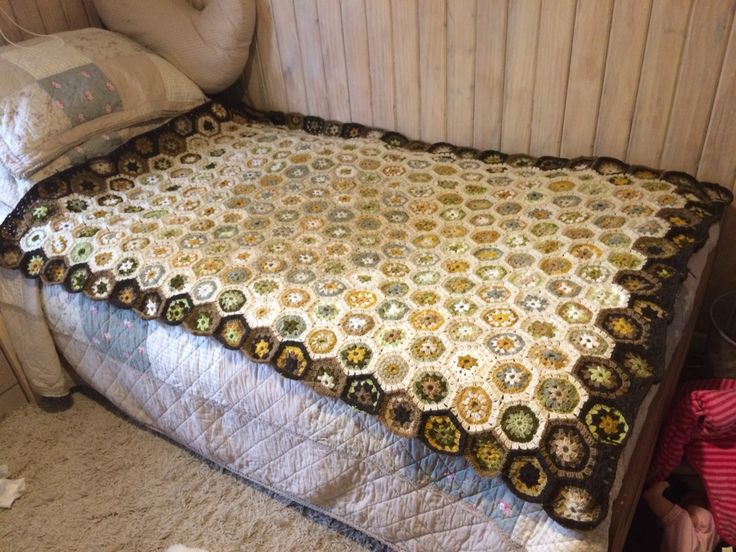 Hexagon crochet blanket in earthy colors, my very first Project by Maureen Robeson Magnasco