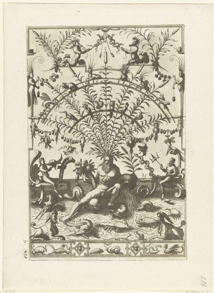 Johannes of Lucas van Doetechum | Vlakdecoratie: stroomgod met hoorn des overvloeds, Johannes of Lucas van Doetechum, Cornelis Floris (II), Hieronymus Cock, 1557 | Boven een smal fries met dieren zit een stroomgod met zijn kruik en een hoorn des overvloeds. Hij zit met zijn voeten in een stroom waarin vissen en een dolfijn zwemmen. Tussen de lisdodden die uit zijn hoofd groeien is latwerk bevestigd waarop vogels en andere dieren zitten. Links staat een zetel van rolwerk waarin een vrouw die…