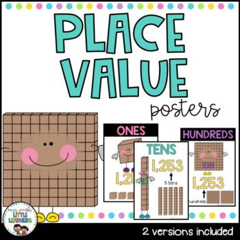 Place Value Posters: These Place Value Posters are a bright and engaging visual to display on your Math Wall in your classroom. Your children can refer to them regularly to assist them with their knowledge of Base 10 and Place Value.