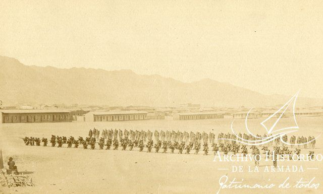 Compañía del Batallón Cívico de Artillería Naval de Valparaíso o Navales, en ejercicios en Antofagasta, 1879. http://archivo.mmn.cl:8080/handle/1/1829