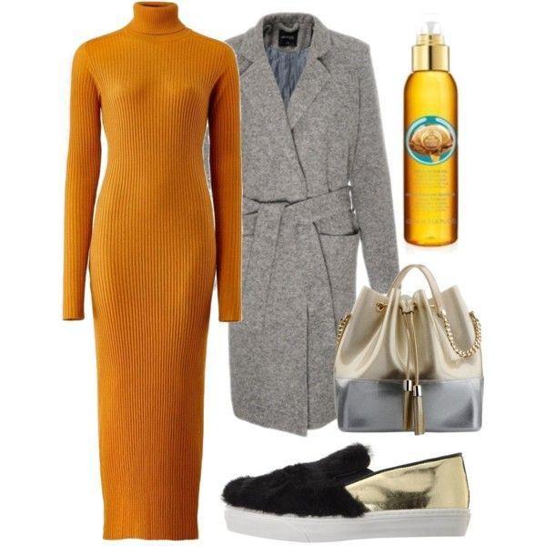 μουσταρδί πλεκτό φόρεμα ζιβάγκο