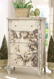 """""""Decoupaged Engineering Print (at Staples 3'x4' black and white only for $8) onto the front of an old dresser."""""""