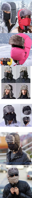 Unisex Men women Winter Trapper Aviator Trooper Earflap Warm Ski Hat With Mask