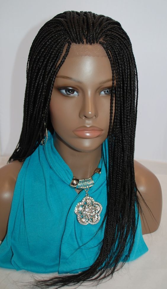 Fully hand braided lace front wig Micro Braids Color 1 in 17 Inches (HANNAH2-L18)