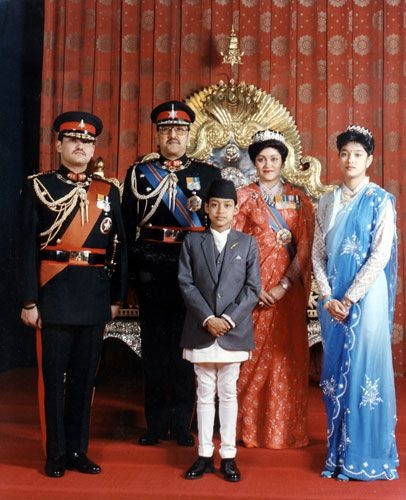 The Nepalese Royal family  (L-R)Prince Dipendra, King Birendra, Prince Nirajan, Queen Aishwarya and Princess Shruti.
