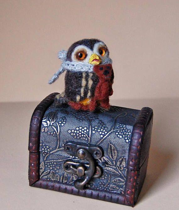 Needle Felted Owl. Needle Felted Bird. Cute Little Owl.