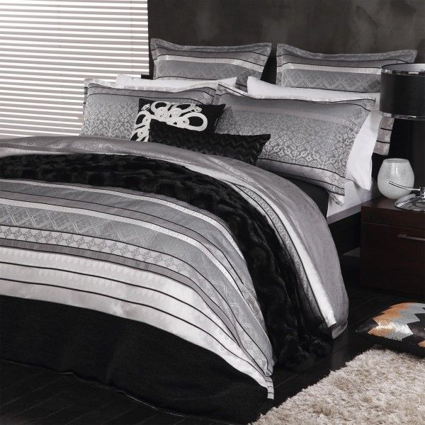 New Xavier Silver Super King Size Quilt Doona Cover Set Logan Mason Covers