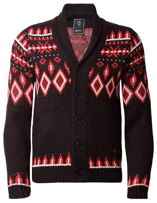 Dissident Men's Cardigan Aztec Jumper Shawl Neck Chunky Knit