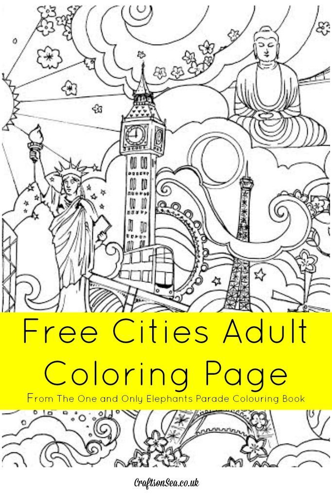 Free Cities Colouring Page From The One And Only Elephants Parade Book Coloring For Kidoms Pinterest